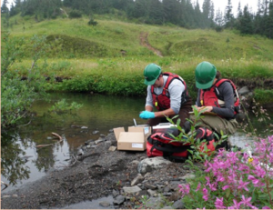 ontractors hired by arrick old gather samples to complete a sediment study near the former skay reek mine