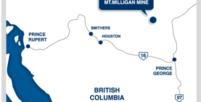 Mount Milligan is in central British Columbia, east of Prince Rupert.