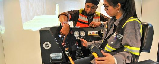 Female operators immersed in training at Grasberg