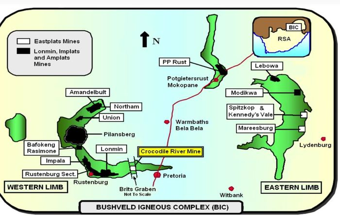 An illustration of the Bushveld complex in South Africa